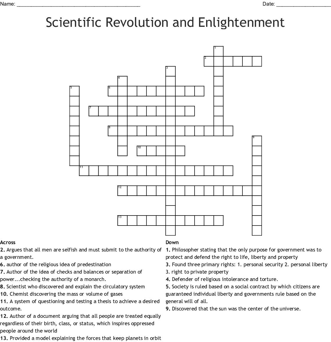 Scientific Revolution And Enlightenment Crossword