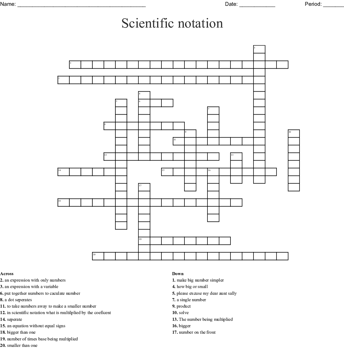 Scientific Notation Word Search