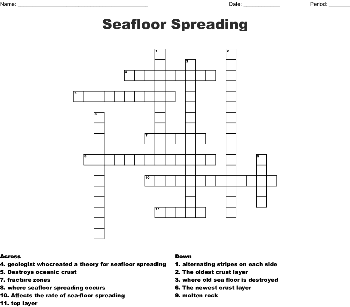 Seafloor Spreading Plate Tectonics Worksheet Answers