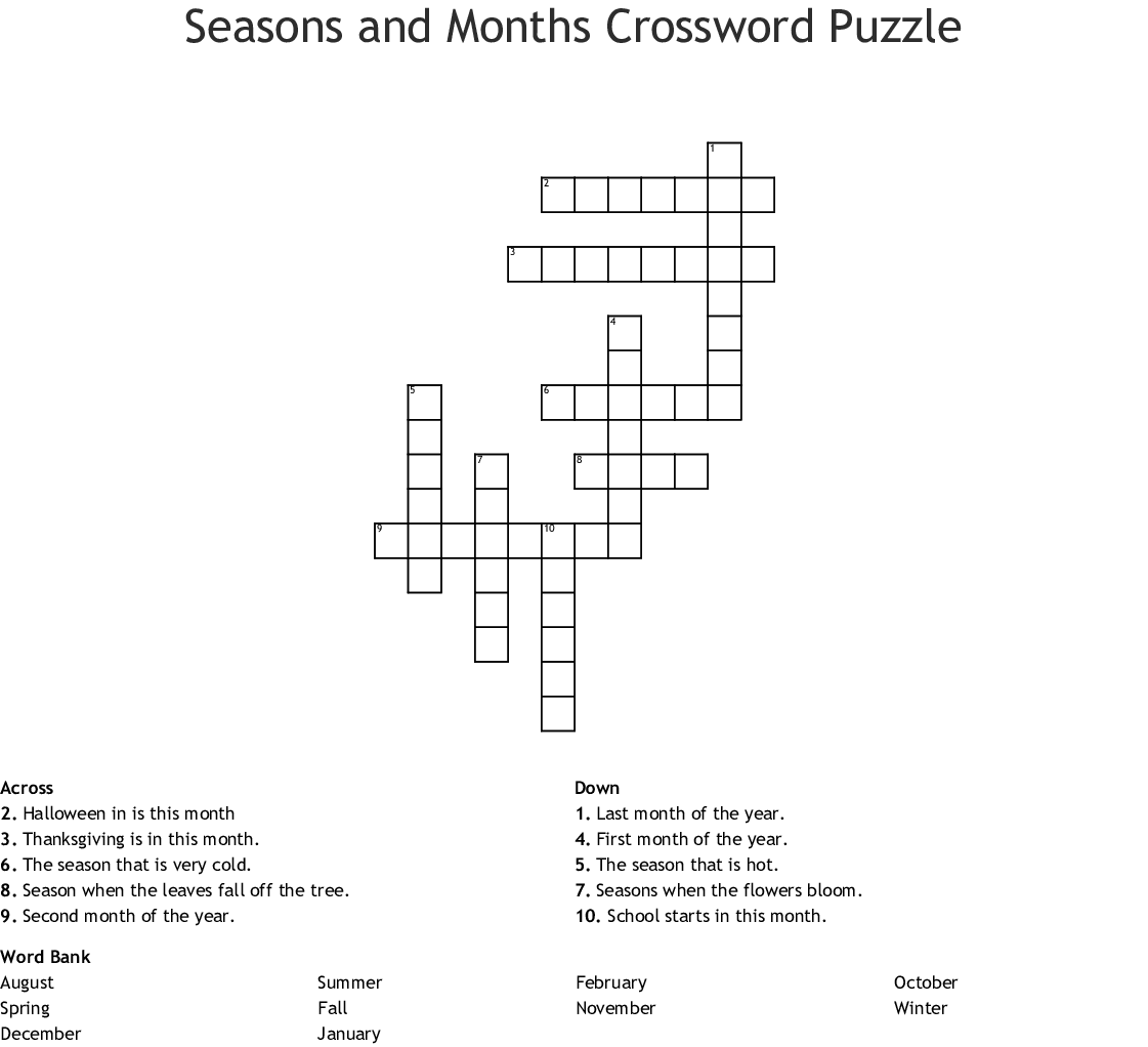 Seasons And Months Crossword Puzzle Crossword
