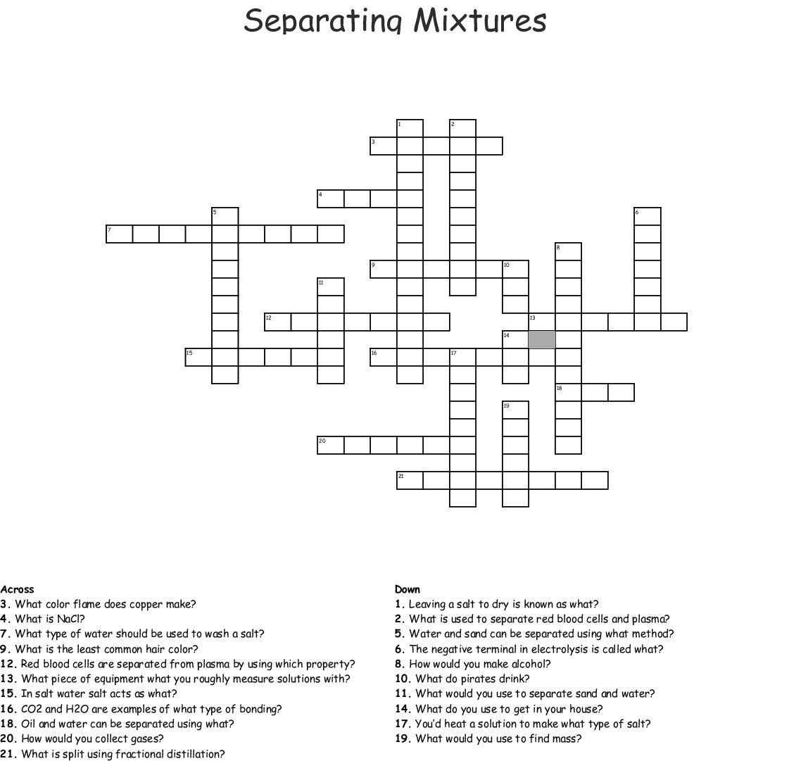 Separating Mixtures Crossword