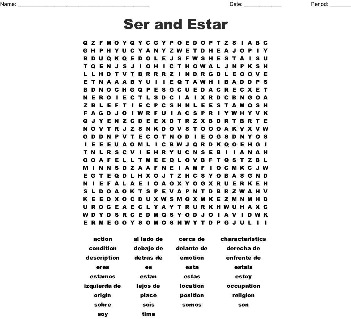 Ser O Estar Crossword