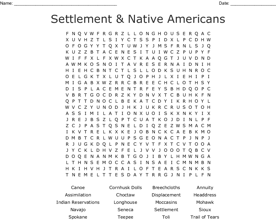 Chase S Native American Wordsearch