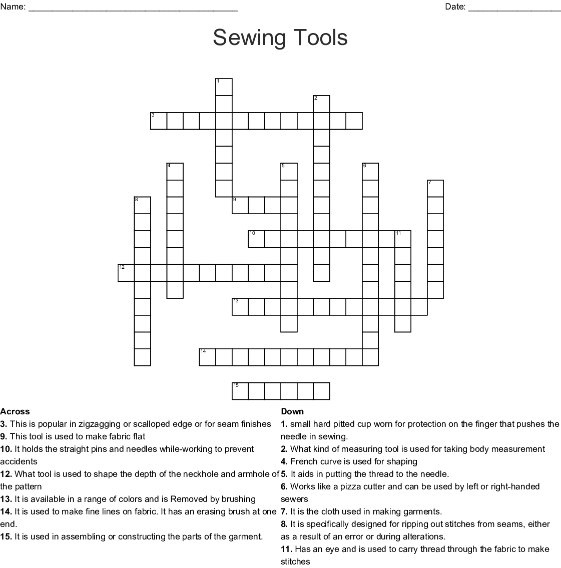 Sewing Terms Crossword Puzzle