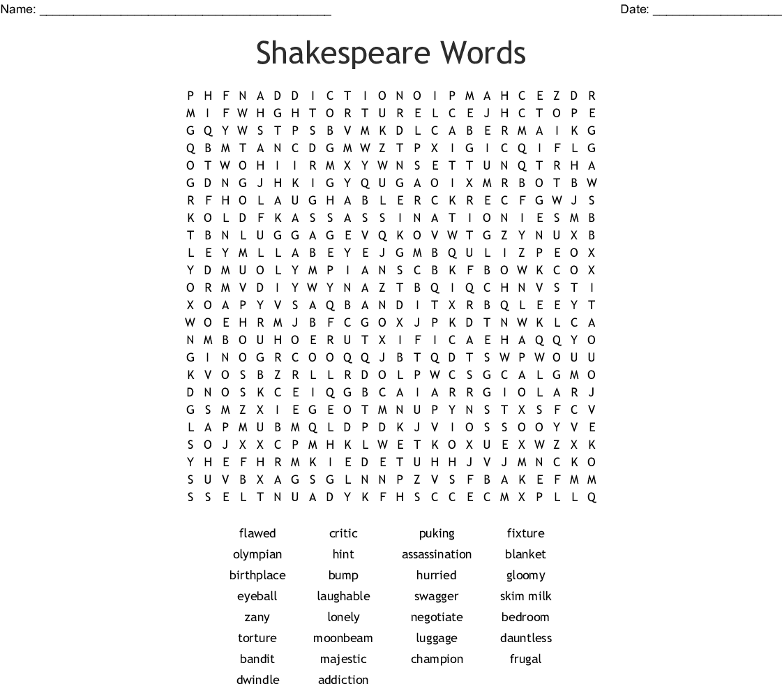 Gothic Literature Word Search