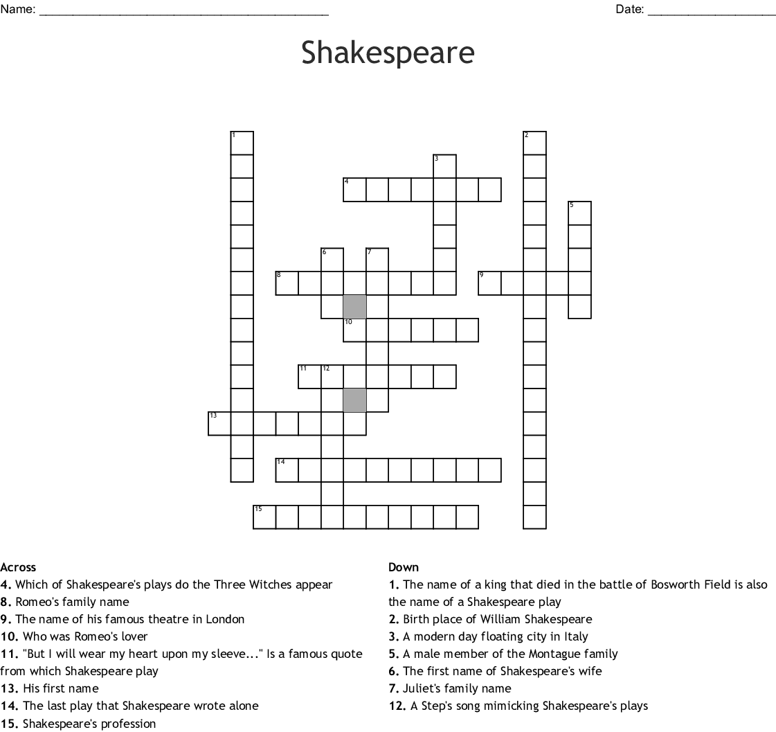 Shakespeare Word Search