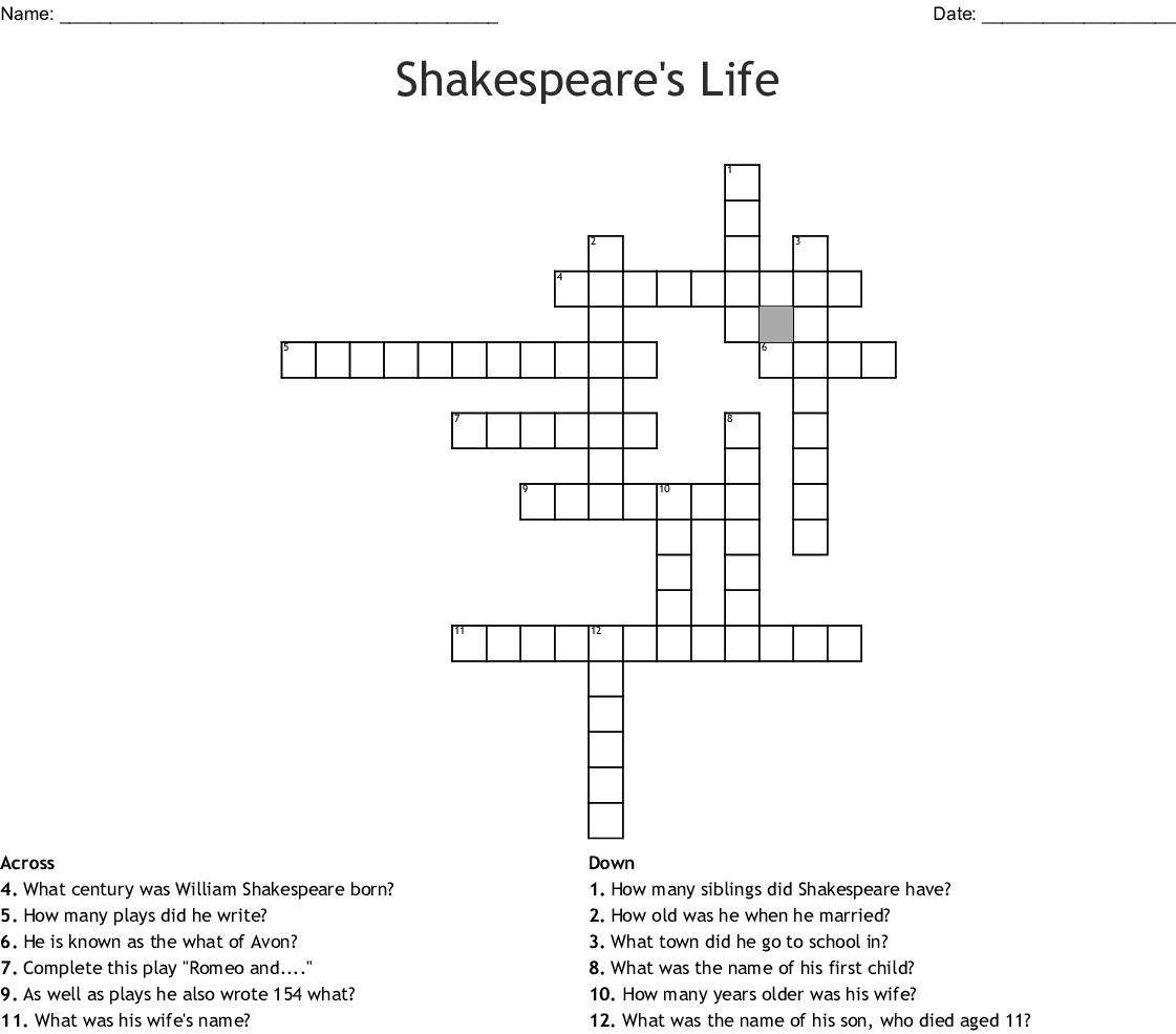 Shakespeare S Life And Theatre Crossword