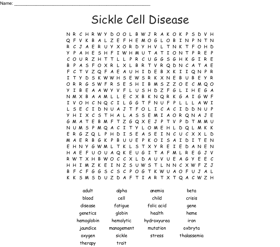 Sickle Cell Disease Word Search