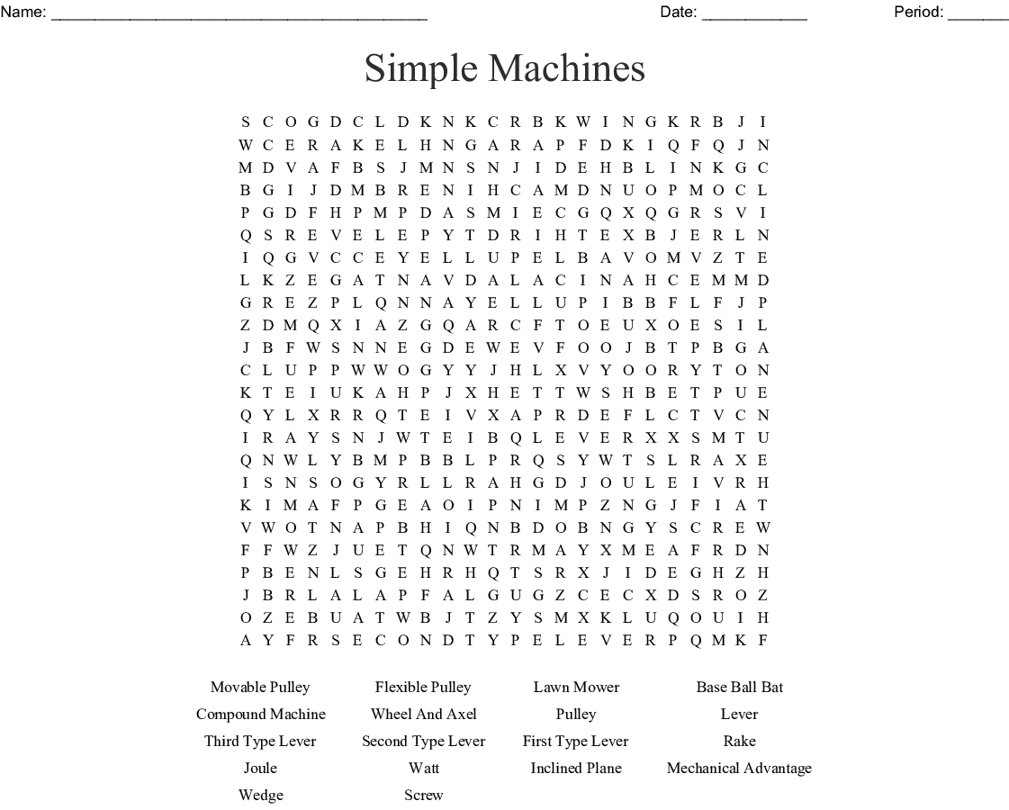 Cool Simple Machines Word Search Worksheet Answer Key
