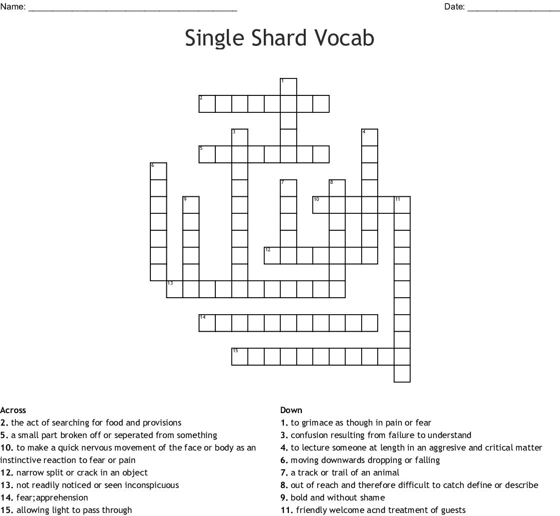 Single Shard Vocab Crossword