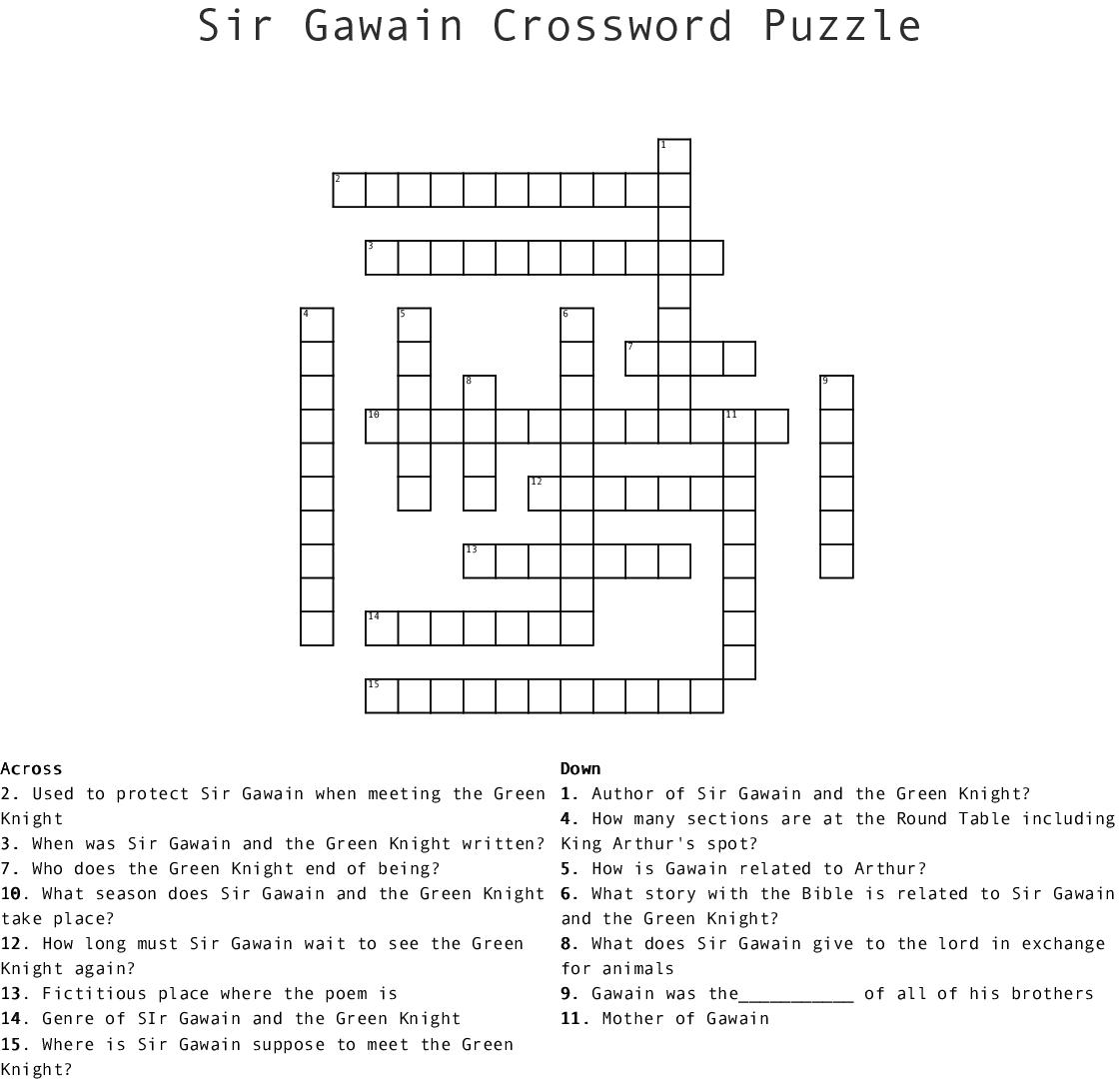 Sir Gawain Crossword Puzzle Crossword