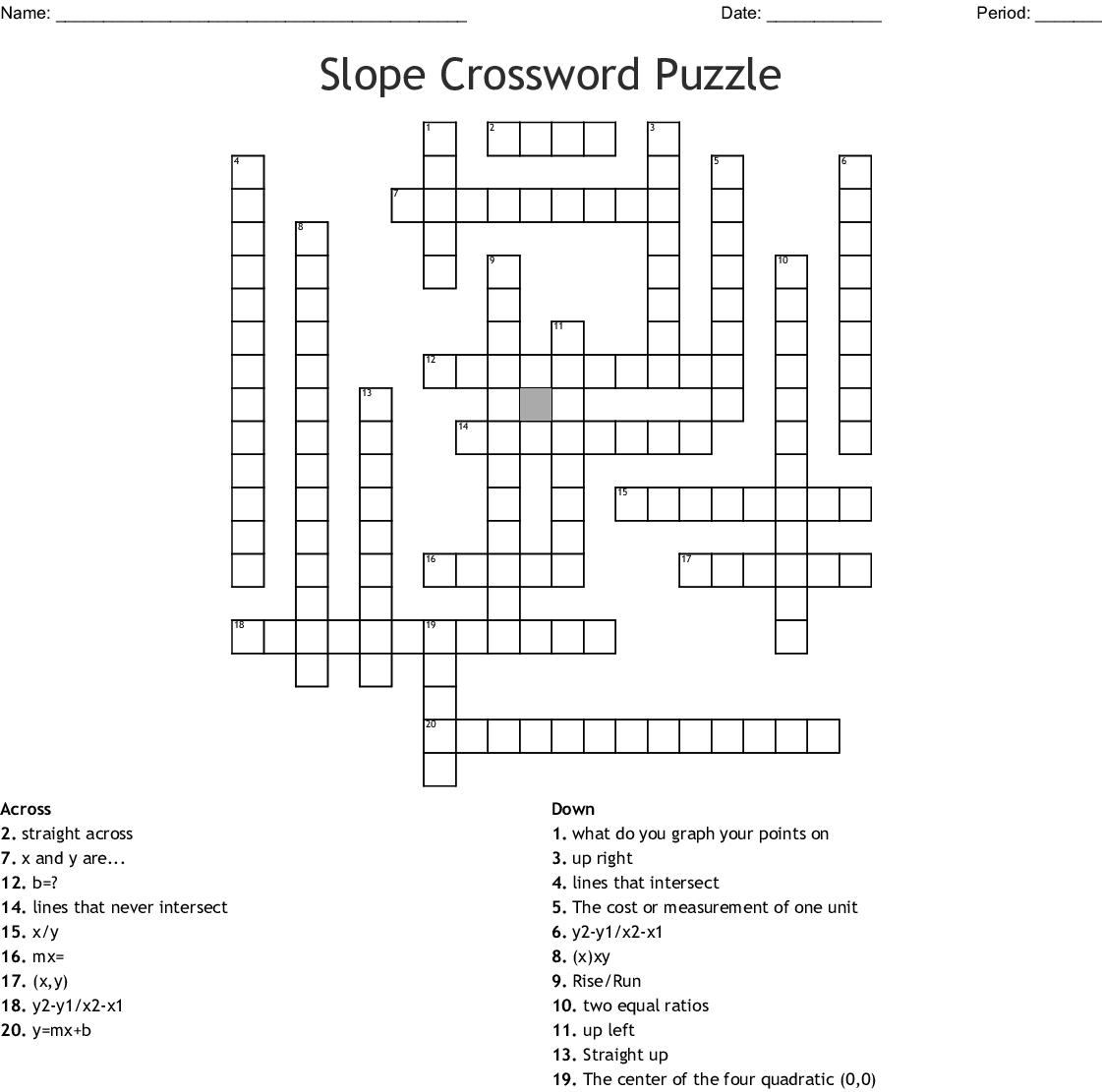 Slope Crossword Puzzle