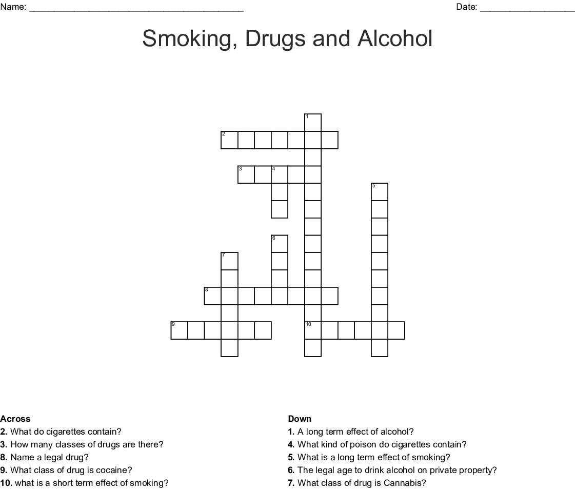 Smoking Drugs And Alcohol Crossword