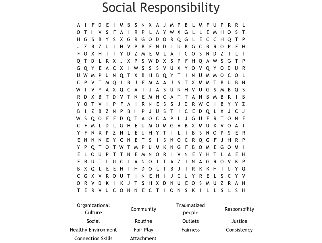 Social Responsibility Word Search