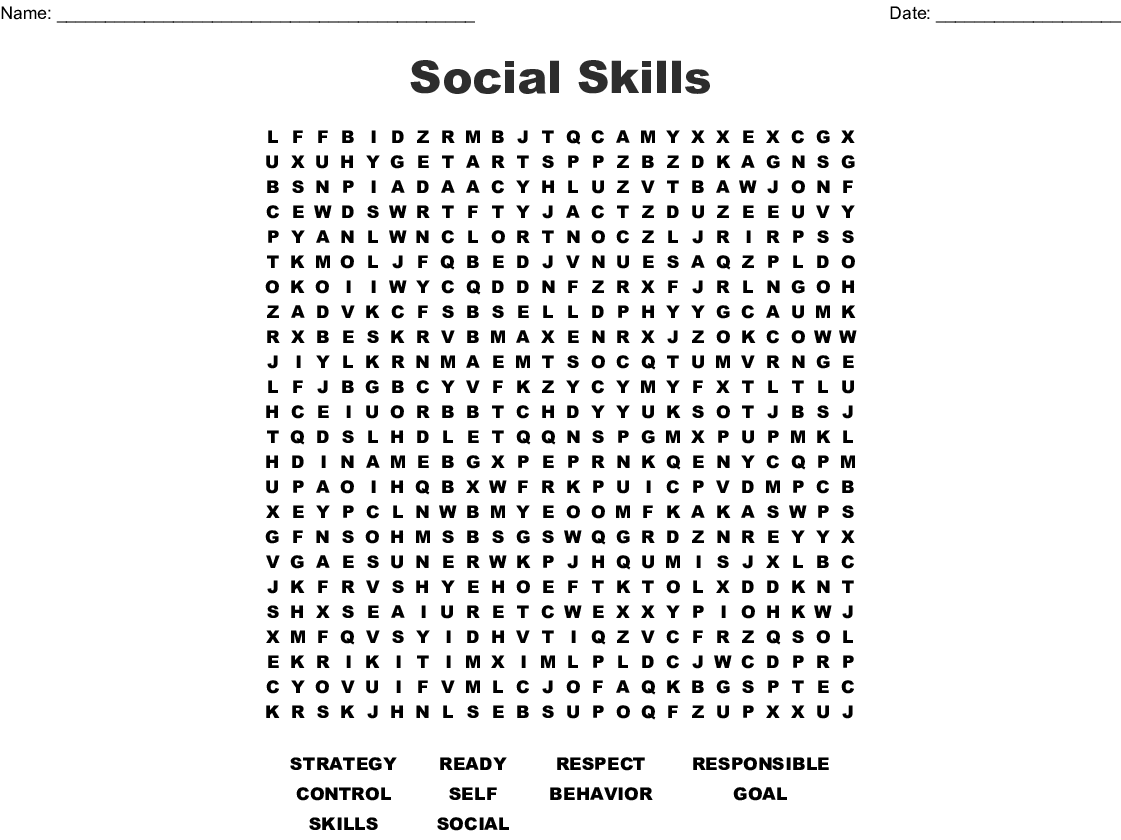 Social Skills Word Search