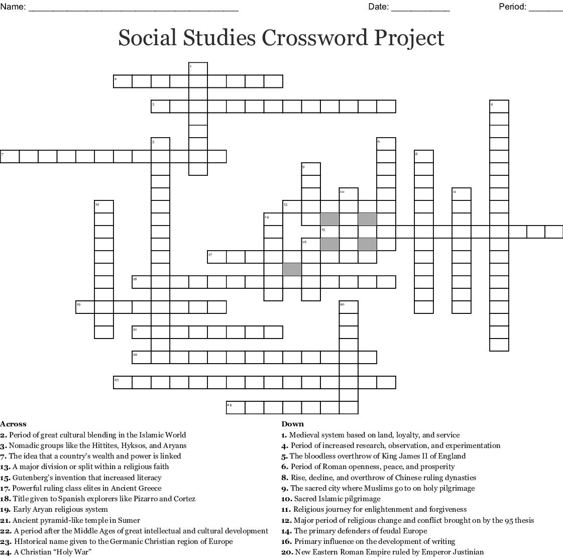 Social Stu S Crossword Project