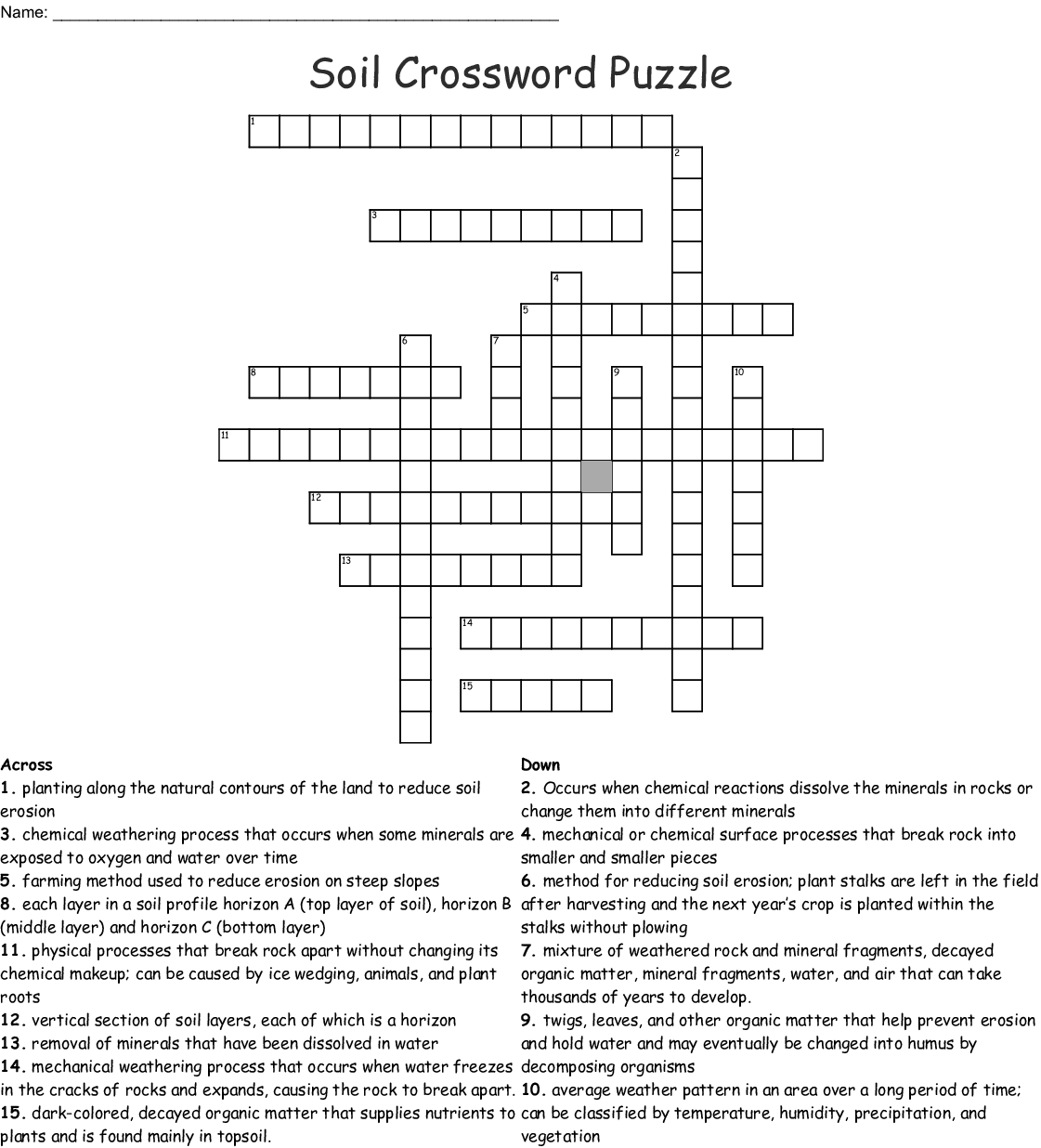 Soil Crossword Puzzle
