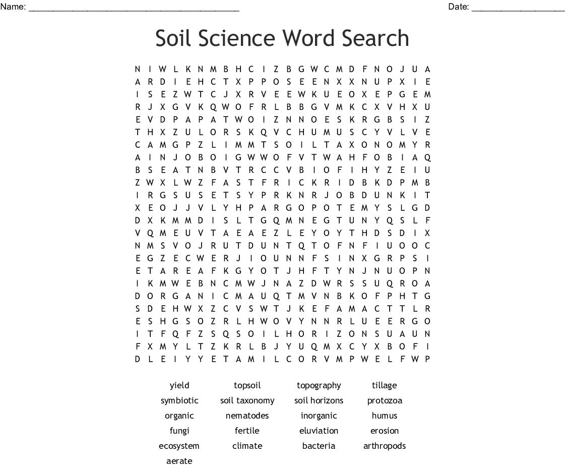 Soil Science Word Search