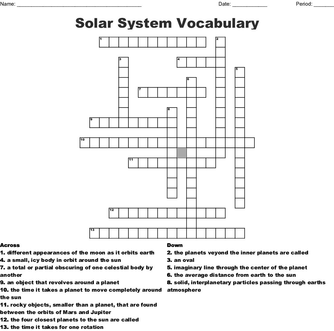 The Solar System Crossword