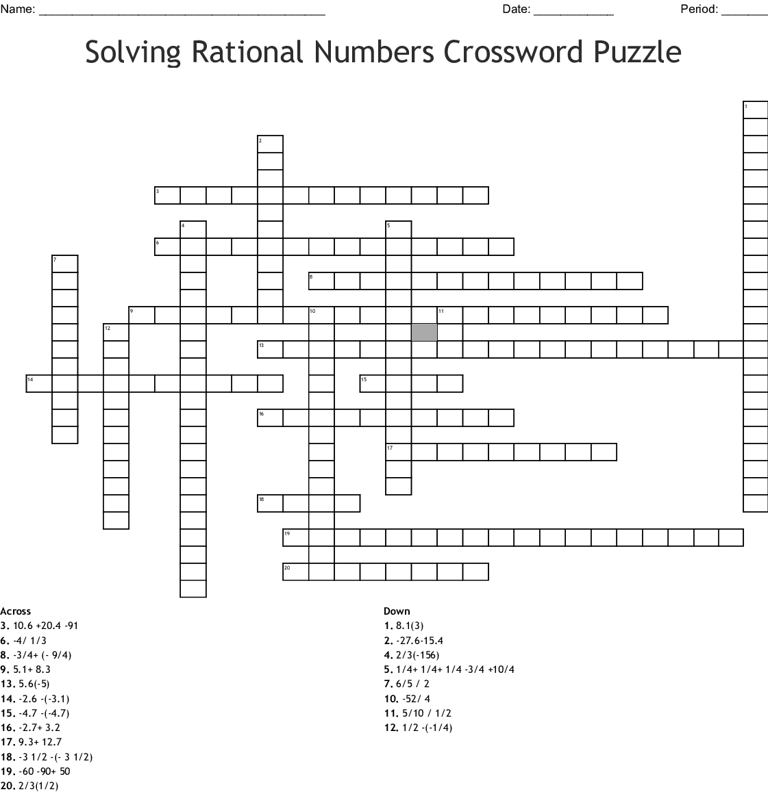 Solving Rational Numbers Crossword Puzzle