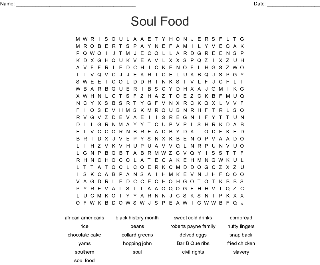 Soul Food Word Search