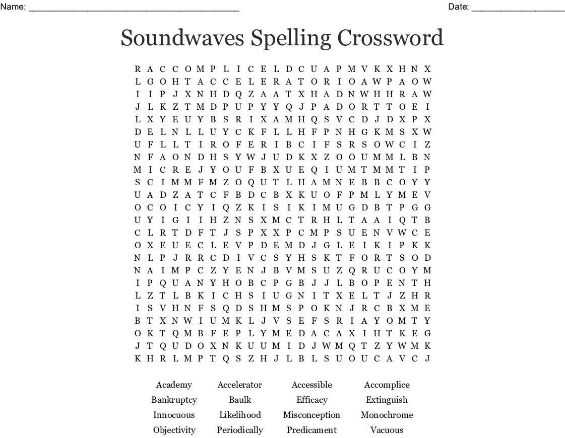 Sound Waves Unit 4 Word Search