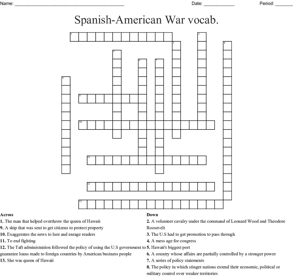Spanish American War Vocab Crossword