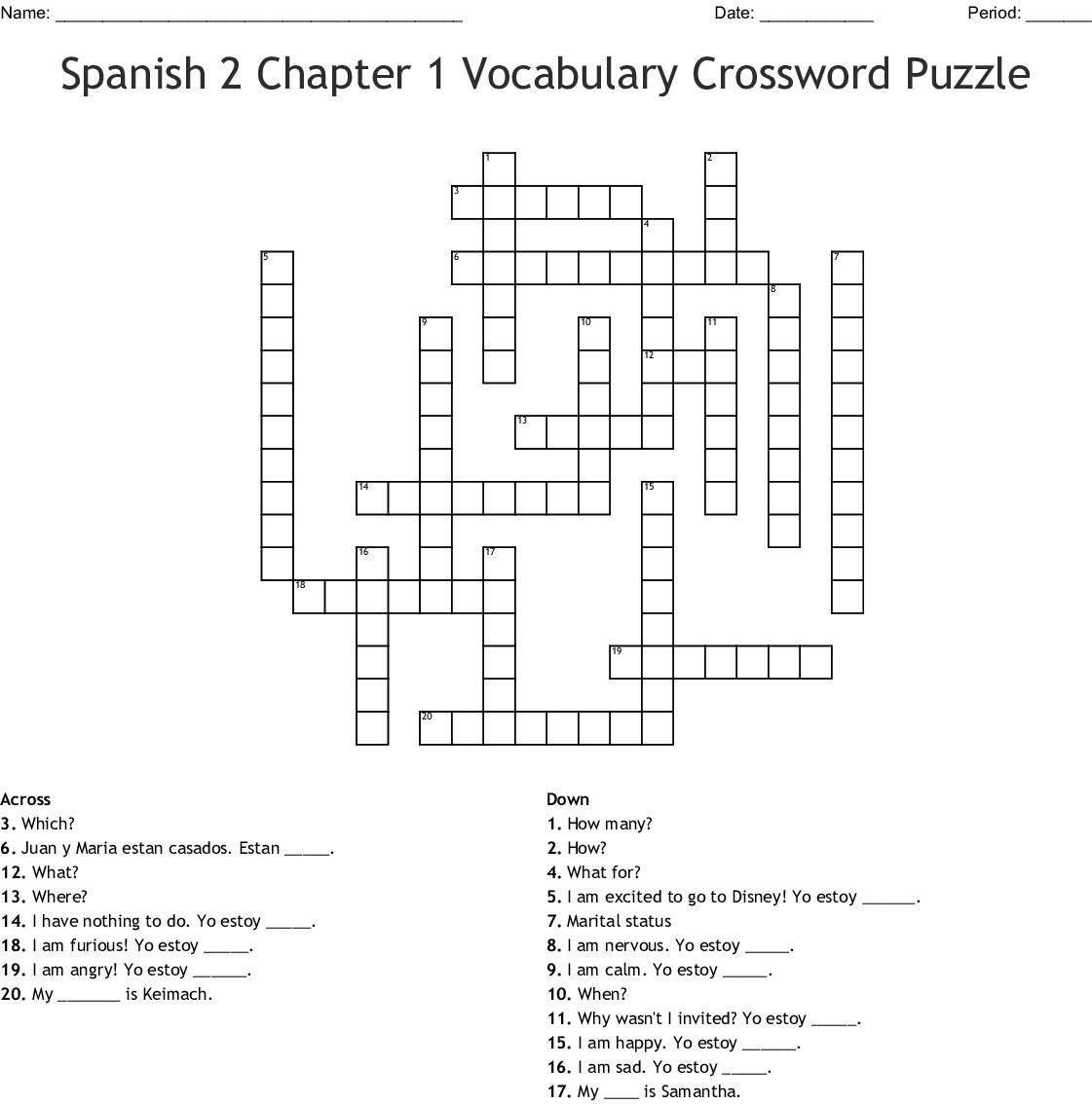 Spanish 2 Vocab Feelings Emotions Word Search