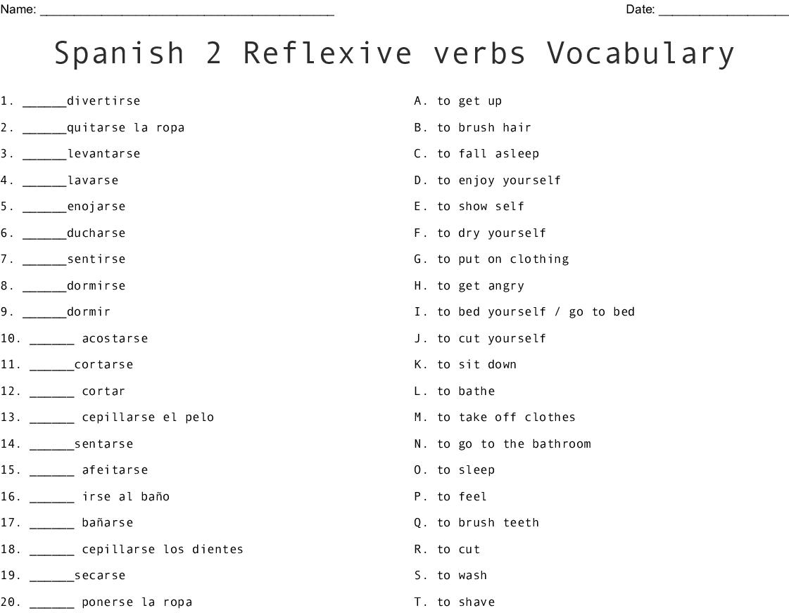 Spanish 2 Reflexive Verbs Vocabulary Worksheet