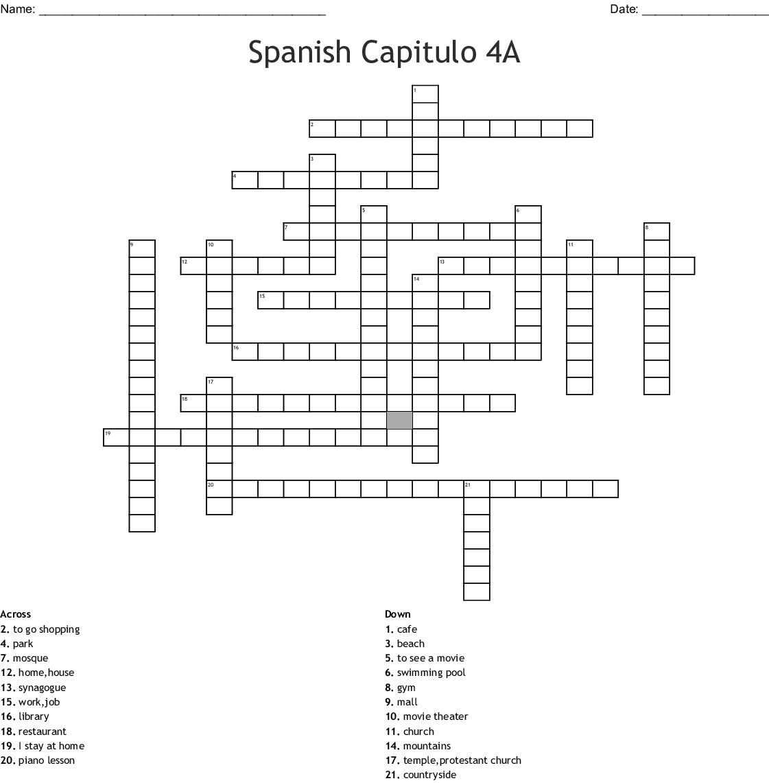 Realidades 2 Capitulo 3a 8 Repaso Crossword Answers