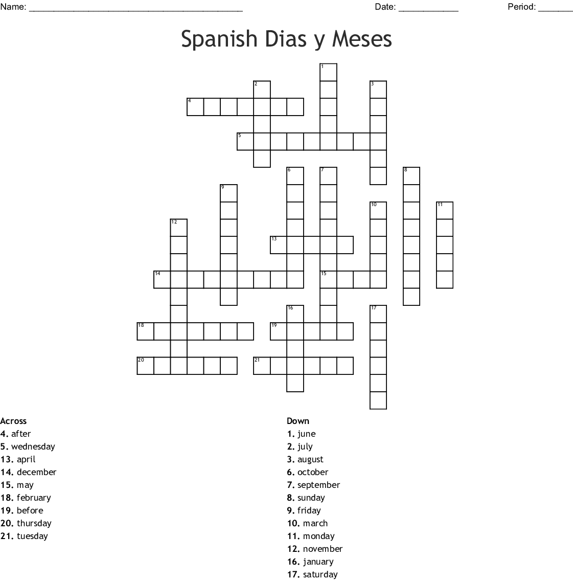 Months And Days Of The Week Crossword