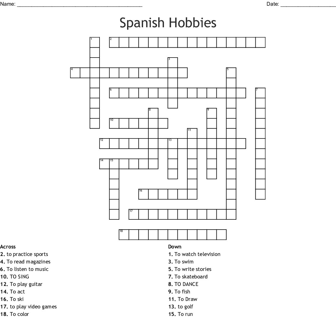 Spanish Hobbies Crossword