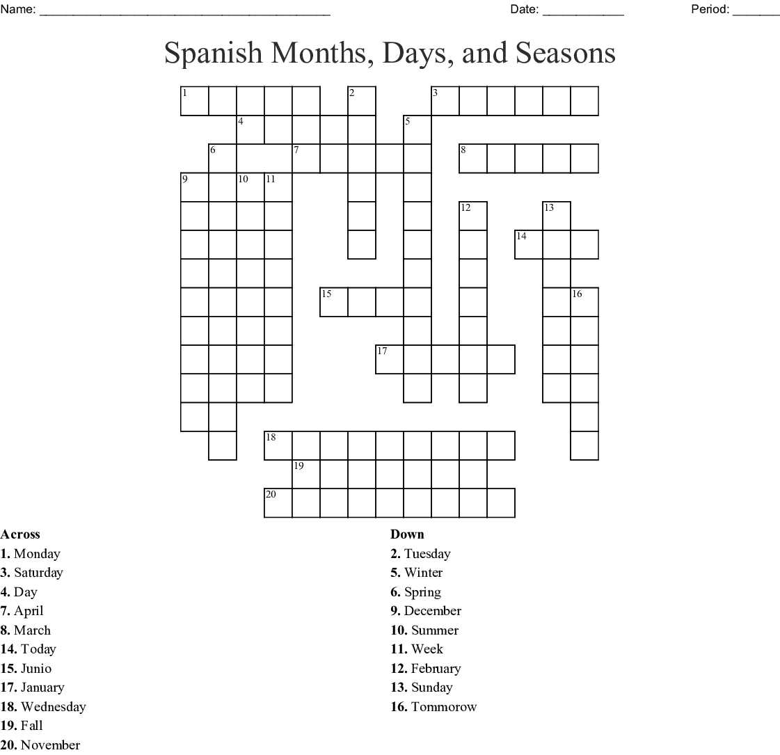 Spanish Months Days And Seasons Crossword