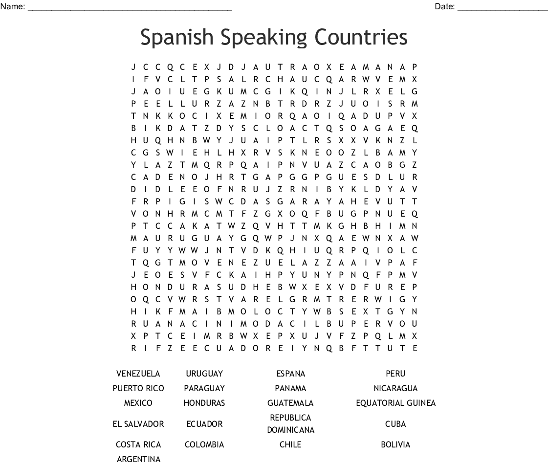 Spanish Speaking Countries Word Search