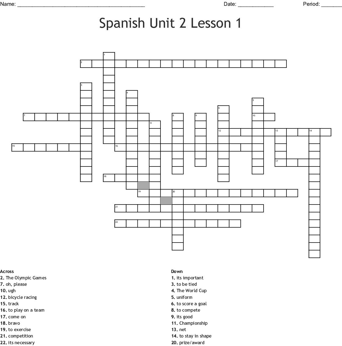 Spanish Unit 2 Lesson 1 Crossword