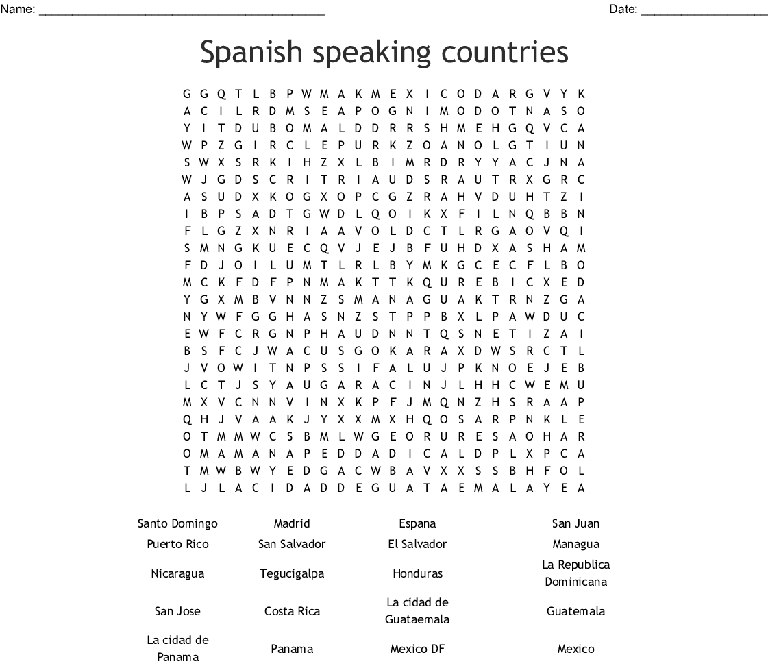 Printable Spanish Word Search Answers