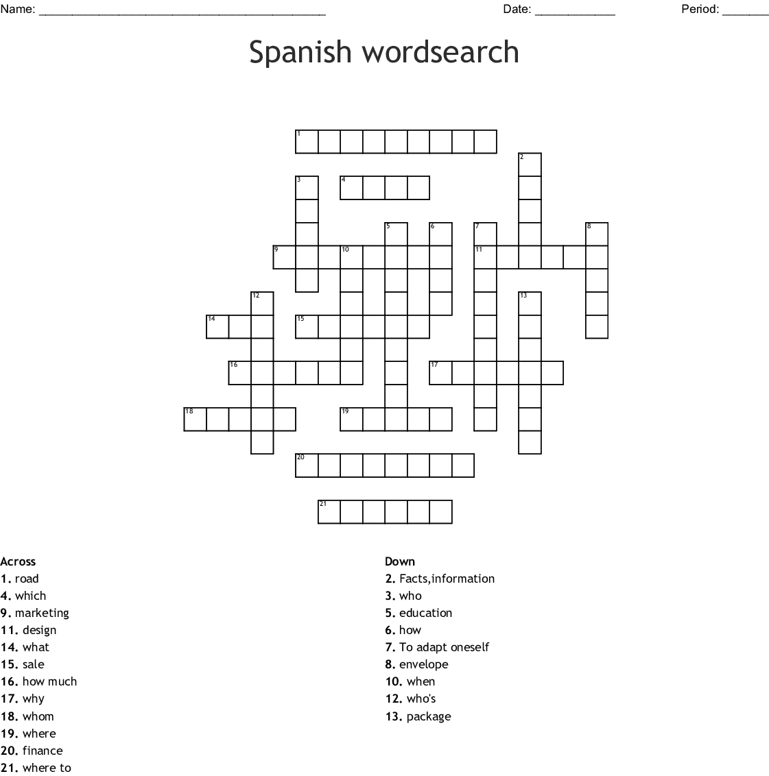 Spanish Wordsearch Crossword