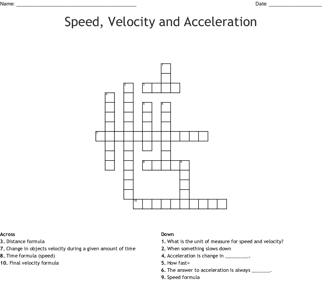 Speed And Acceleration Worksheet Answer Key