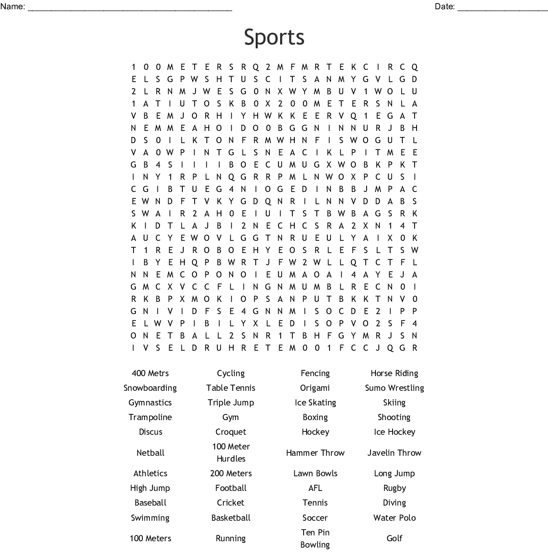 Sports Find A Word Word Search