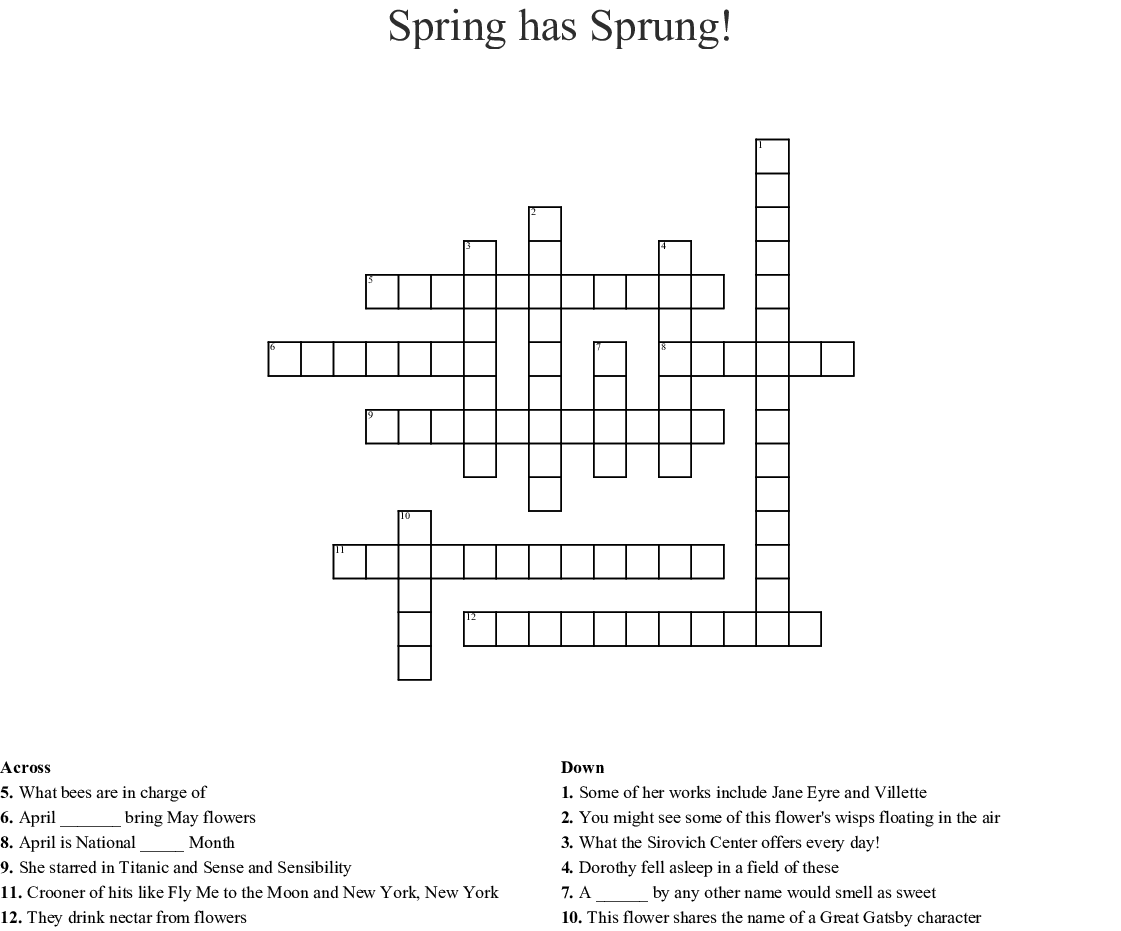 Spring Has Sprung Crossword