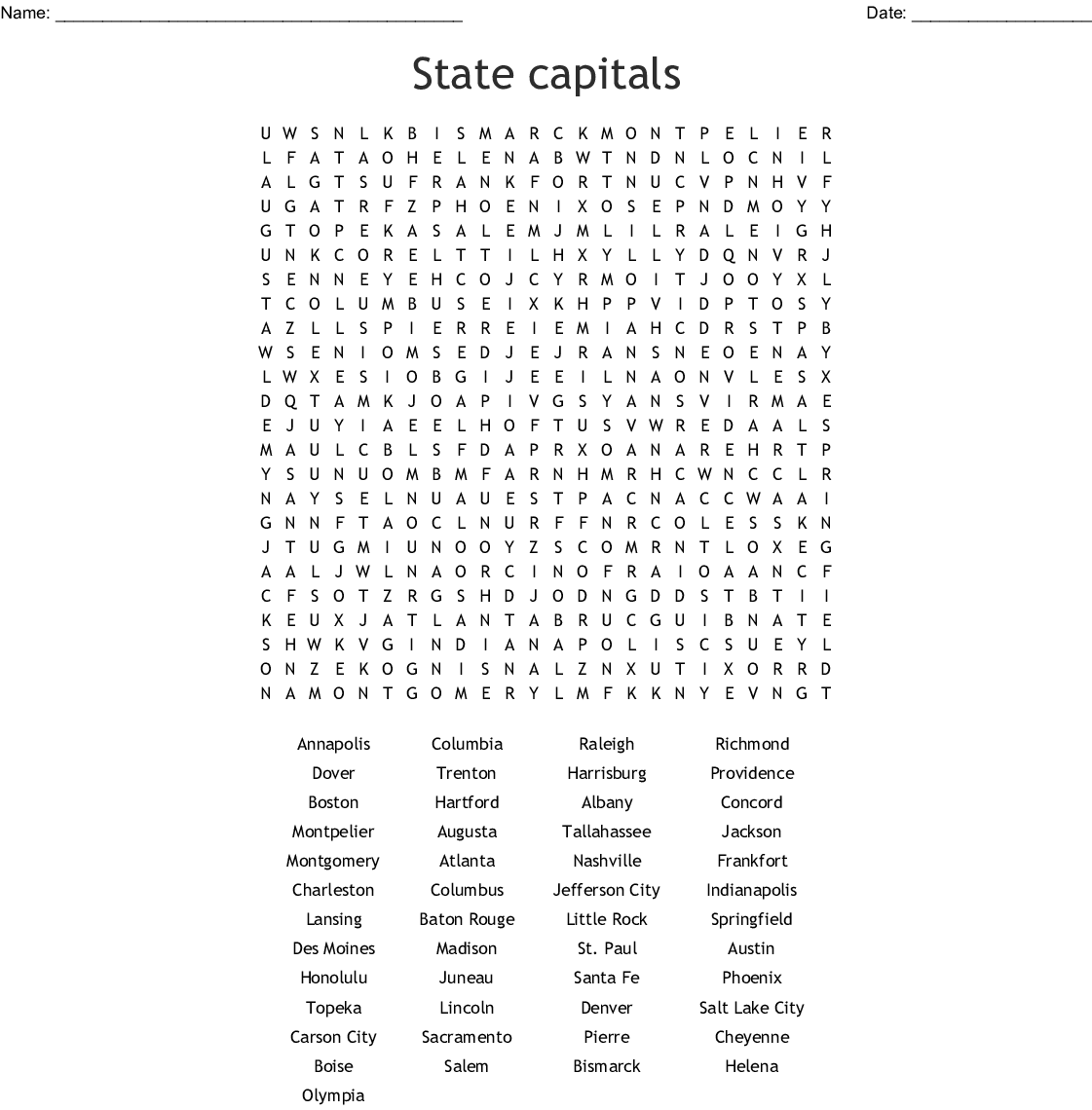 State Capitals Word Search