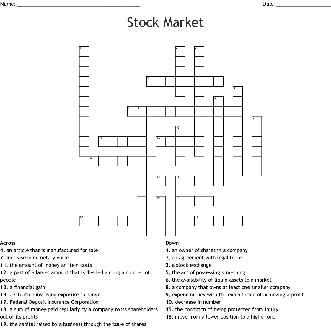 Business Crossword Puzzles With Answers