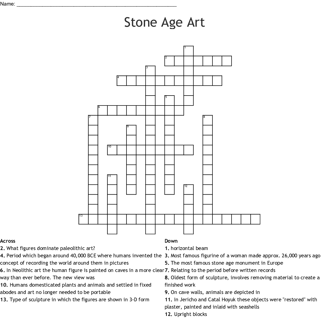 Stone Age Art Crossword
