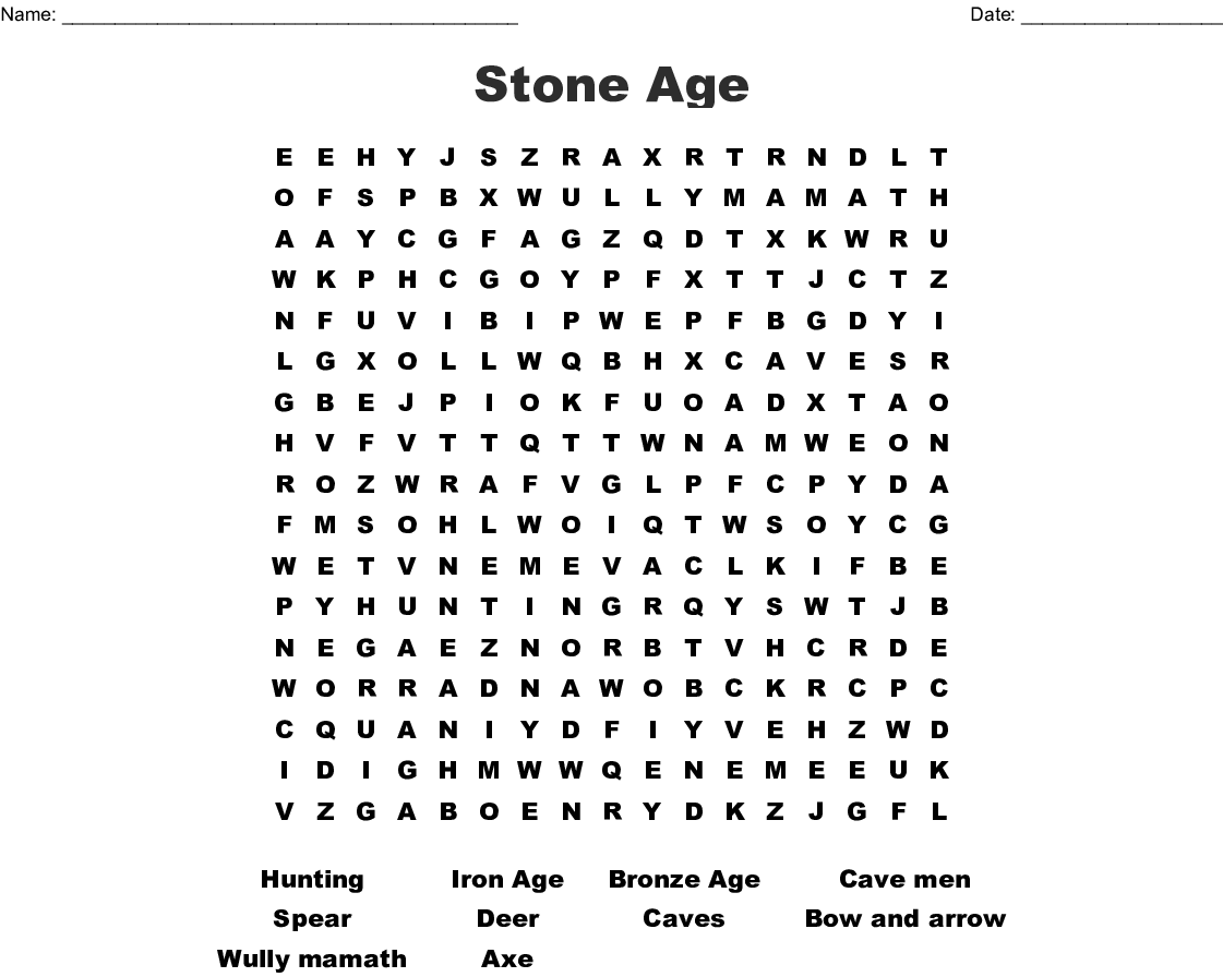 Stone Age Word Search