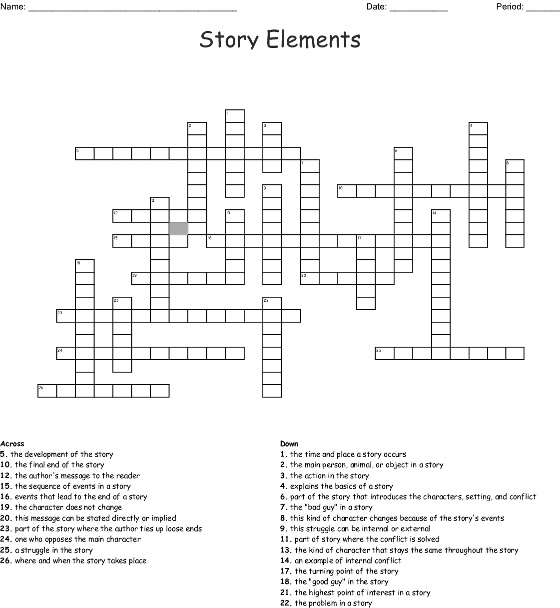 Story Elements Crossword