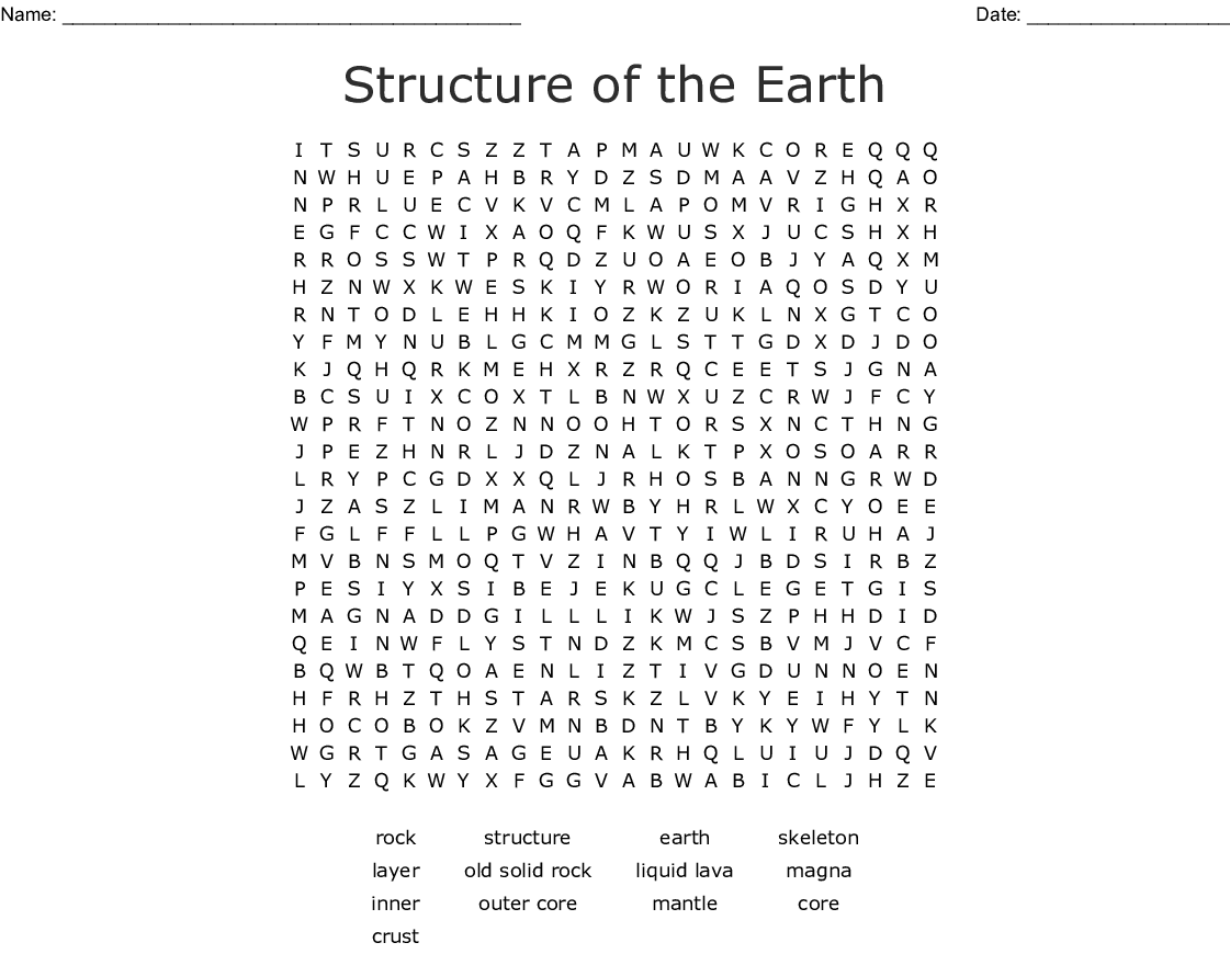 Structure Of The Earth Word Search