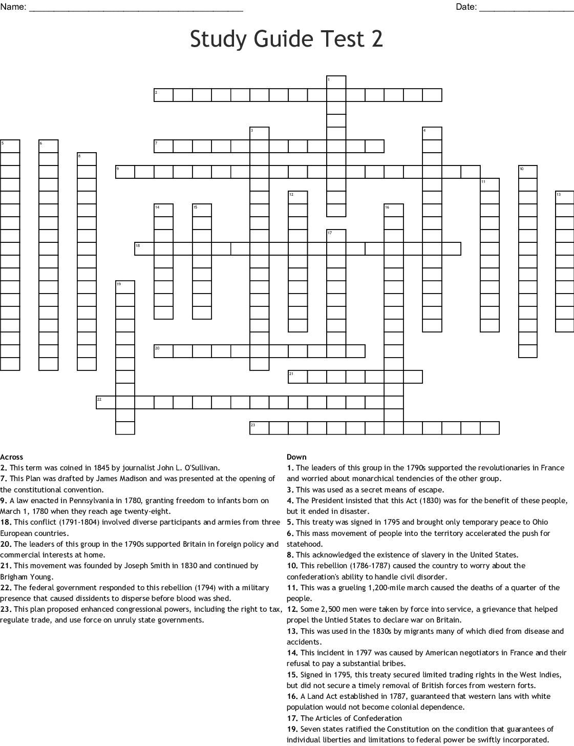 Study Guide Test 2 Crossword