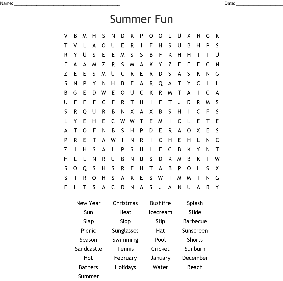 Summer Safety Word Search