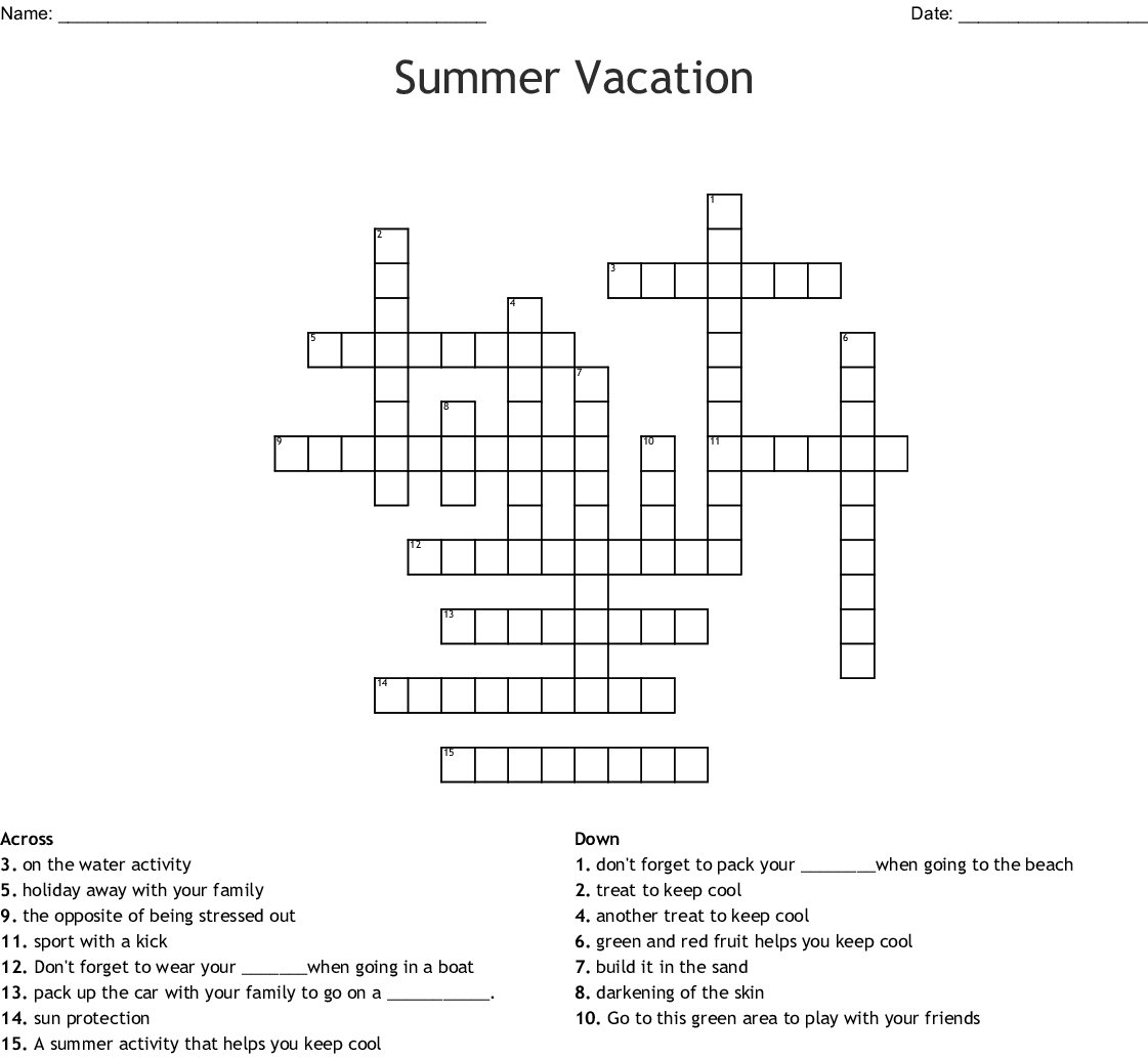 Family Vacation Crossword