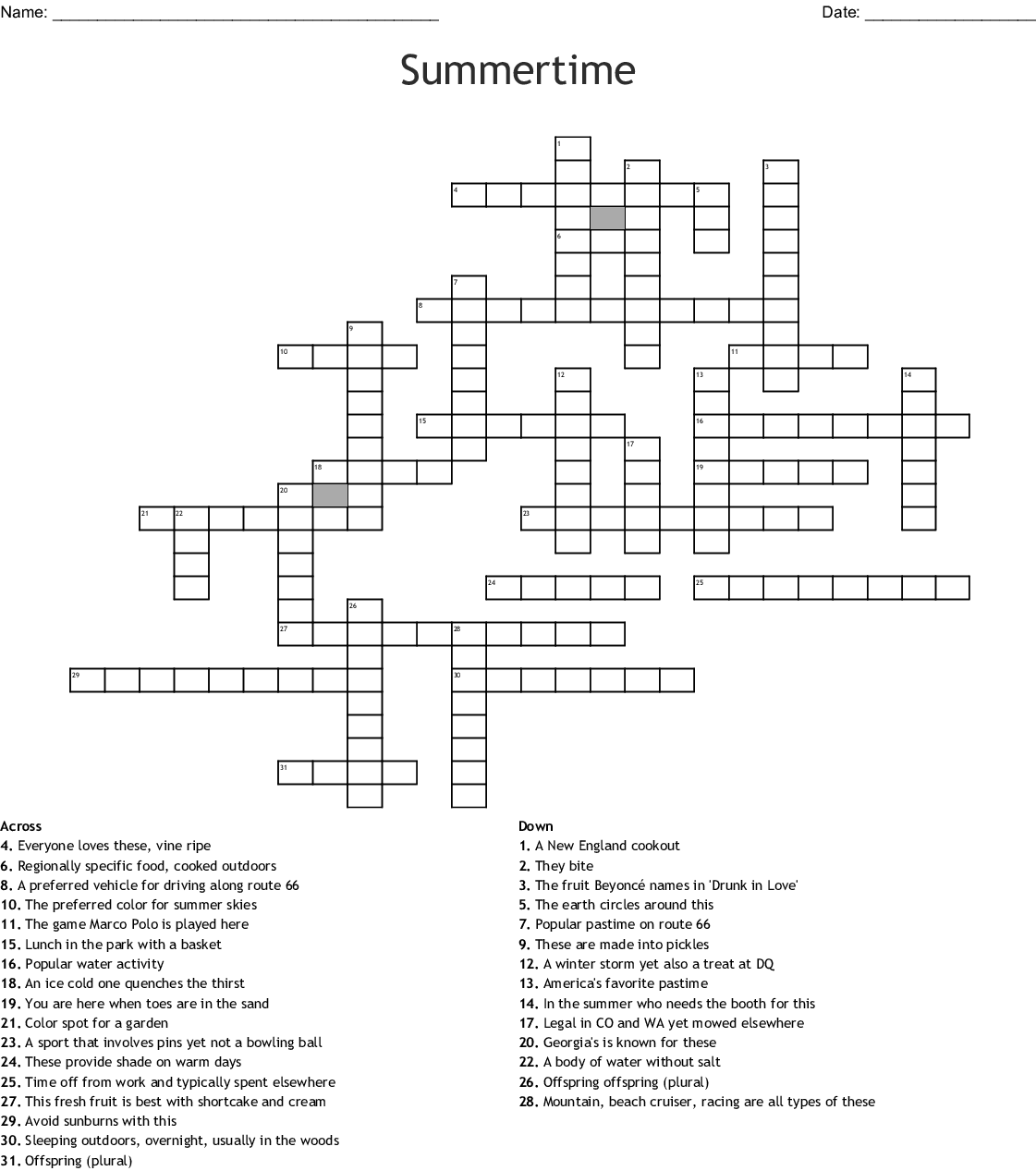 End Of The Year Word Search